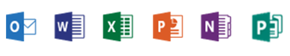 Office 365 Applications, Outlook, Word, Excel, PowerPoint, Publisher